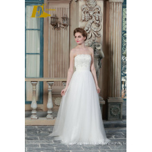 ED Bridal High Quality Wholesale Beads Appliqued Strapless Sleeveless A-line Wedding Dresses China 2017