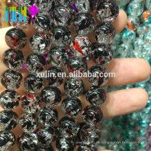 Großhandel 8mm Jet Glas floral Knistern Perlen Schmuck Perlen Maschine