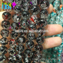 wholesale 8mm jet glass floral crackle beads jewelry beads making machine