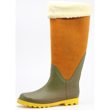 Women Rubber Winter Warm Rubber Rain Boots With Corduroy