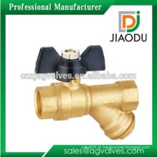 China fabricar Novo Design Feminino Thread dn20 niquelado Y Tipo de latão filtro Válvula de esfera do filtro com borboleta Handle