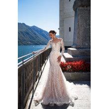 Vestido de casamento nupcial da baile de finalistas da noite da sereia do laço da luva longa