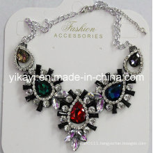 Lady Fashion Jewelry Metal Alloy Glass Crystal Pendant Necklace (JE0212)