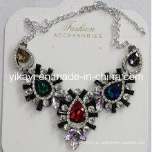 Леди мода ювелирные изделия металлический сплав стекло Кристалл Кулон ожерелье (JE0212)