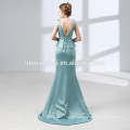 Elegante laço Appliqued manga comprida Top A linha Tulle azul longo vestido de noite 2018