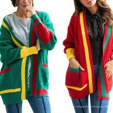 New Season Winter Christmas Patchwork Women Jacket Autumn New Fall 2021 Multifcolor Cardigan Sweater Woman Jackets