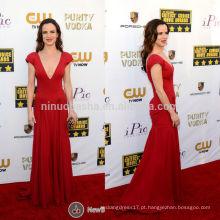 Critics Choice Awards 2014 Juliette Lewis Vestido de celebridade de tapete vermelho Vestido de noiva V-Neck Vestido de noiva com bainhas plissadas NB0790
