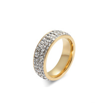 Women Crystal Gold Stainless Steel Paved Diamond Band Rings Jewelry