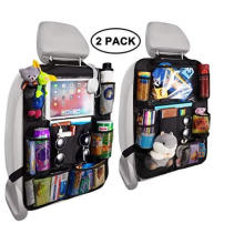 Backseat Car Organizer Kick Mats Back Seat Storage Bag with Clear Screen Tablet Holder and 9 Storage Pockets Seat Back Protector