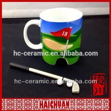 Ceramic golf mug, golf cup, golf flag cup