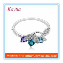 Braceletes de prata da menina colorida de cristal do projeto extravagante