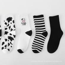 Ins fashion socks autumn winter style cow black and white striped socks sweet fashion socks for women