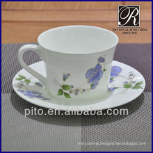 bone china coffee cup & saucer with flower decal