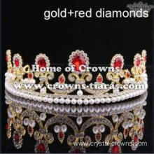 Alloy Wedding Tiaras With Pearl And Round Diamond