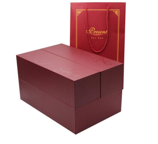 Custom Double Side Closure Vin Packaging Paper Box