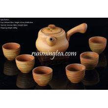 Handmade Crude Ceramic Tea Set, One Long Handle Tea Pot+ 6 Tea Cups, Brown color, Package Gift Box