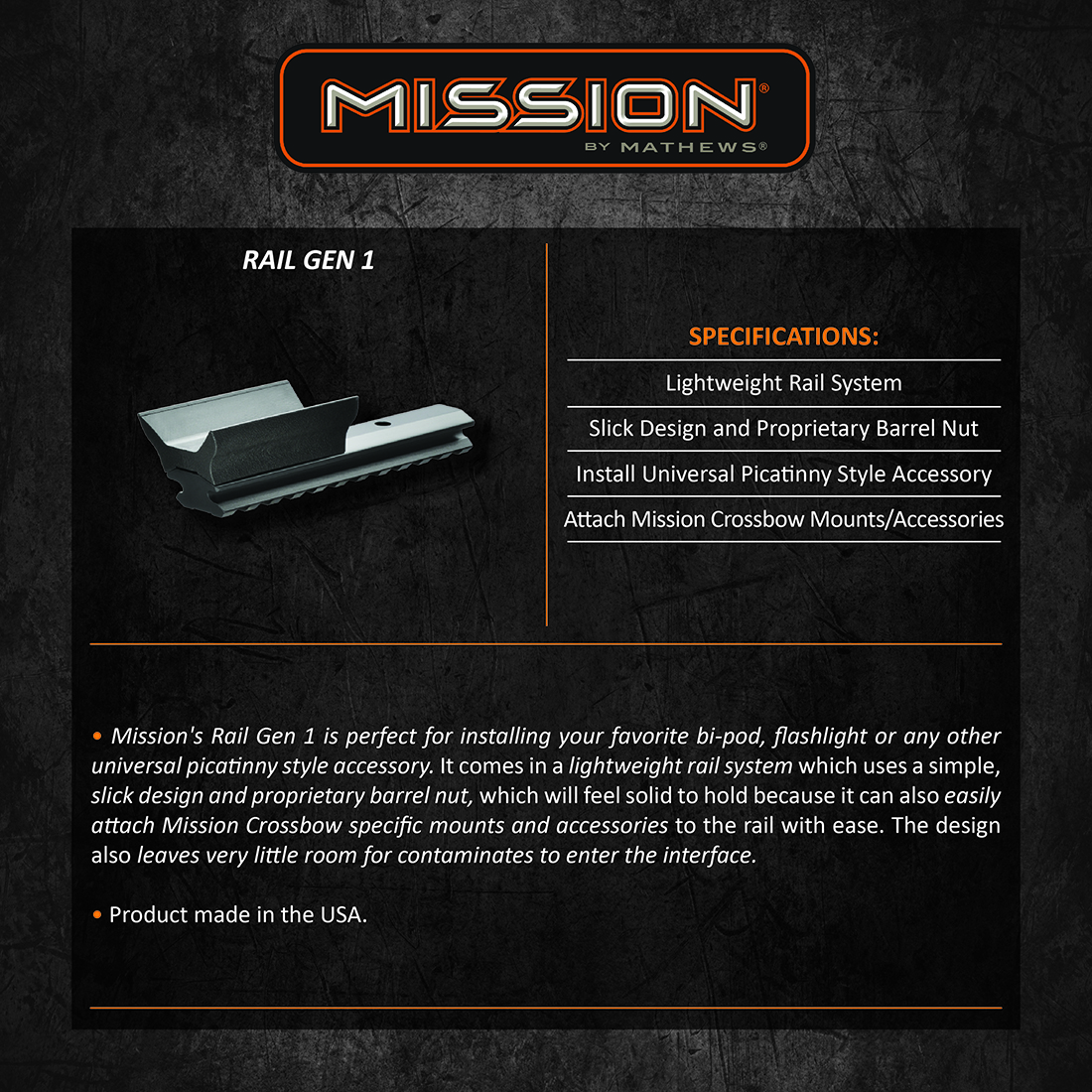 Mission Crossbow Rail Gen1 Product Description