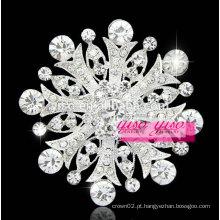 Broche de flor de pedra grande elaborado com cristais