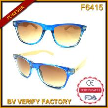 F6415 Quadros de plástico novo óculos de sol com templos de bambu