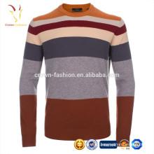 Top Quality Cachemire Stripe Crew Neck Chandail à tricoter motif pull gratuit