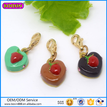 Custom Metal Alloy Strawberry Cakes Jewelry Charm for Lover #17624