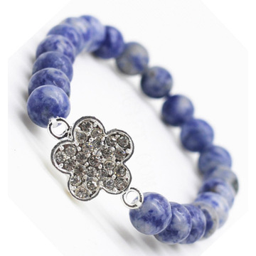 Sodalite Gemstone Bracelet with Diamante alloy Flower Piece