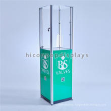 Free Design Custom Aluminum Frame Top Lighted Up In Store Glass Top Floor Standing Display Case