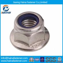 DIN6926 em aço inoxidável flange hexagonal inserto de nylon porca de trava