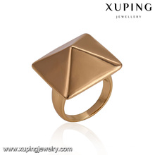 14484 Wholesale classical ladies jewelry square cone shaped copper alloy gold plated finger ring