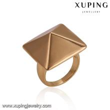 14484 atacado clássico senhoras jóias em forma de cone quadrado liga de cobre banhado a ouro anel de dedo