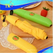 Paraguas encantador de los niños / paraguas plegable del lápiz 3 para el paraguas portátil soleado y lluvioso / del paraguas del plátano