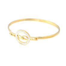 Gros pas cher bracelet en or 18 carats en acier inoxydable cristal mince charme amour