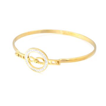 Großhandel Günstige 18 Karat Gold Armreif Edelstahl Dünn Kristall Bettelarmband Liebe