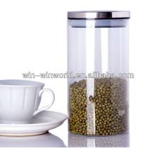Grand pot en verre de stockage de récipient d'huile de cire antiadhésive claire avec le couvercle d'acier inoxydable