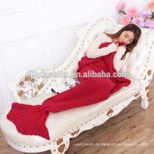Erwachsene neue Stil Meerjungfrau Schwanz Decke stricken TV Sofa Decke Tier geformt Kaschmirdecke