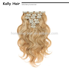 clip de extensiones de cabello humano rubio claro de 30 pulgadas