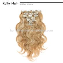30 pouces blond clair extensions de cheveux humains clip dans