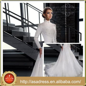 LB08 2015 manga larga A-línea de encaje blanco Applique mano-rebordear tren Tong último diseño de vestidos de boda musulmán de vestir