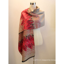 Lady Fashion Viscose Woven Jacquard Fringed Shawl (YKY4414-1)