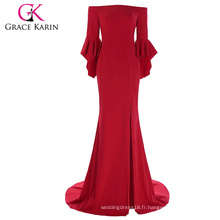 Grace Karin Longueur de plancher à trois quarts Robe à volants à manches longues à bas prix Robe de soirée rouge Robe de soirée 7 Taille US 4 ~ 16 GK001073-1