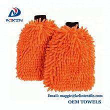 2018 New Style Chenille Gant de lavage de voiture Mitt serviette - ORANGE