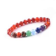 Pulsera colorida de las piedras de los 8MM del grano de la ágata roja natural de piedra semipreciosa de la piedra