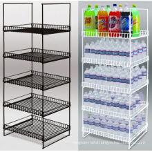 powder coated tier shelf metal wire retail floor display stand