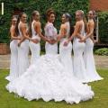 Vestidos de boda largos de la sirena de la manga larga del organza del cordón del blanco de Alibaba 2015 Vestidos de fiesta LW44