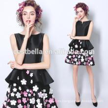 Corto estilo impreso flor negro fiesta vestido de fiesta negro vestido de cóctel
