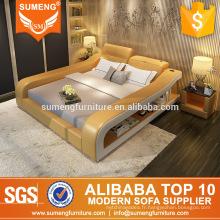 meubles de chambre à coucher en cuir italien fantaisie avec le coffret
