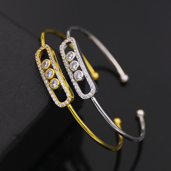Gold Plated Micro Pave CZ Brass Cuff Bangle