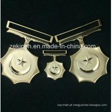 Cinco pontas personalizada medalha estrela com Ribbo