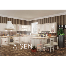 15-25 days fast delivery high quality solid wood style pvc membrane kitchen cabinet