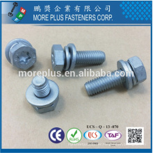 Made in Taiwan Class 8.8 DIN933 Hex Head TORX with DIN6902A Flat Washer and DIN6905 Spring Washer Sems Screws